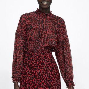 🌈HOST PICK!🌈 NEW| ZARA Red Leopard Blouse